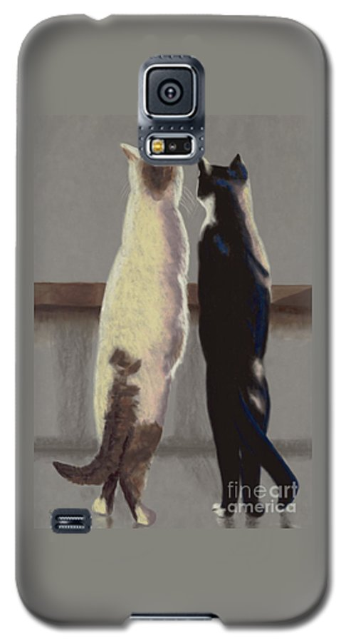 Cat Galaxy S5 Case featuring the painting A Bird by Linda Hiller