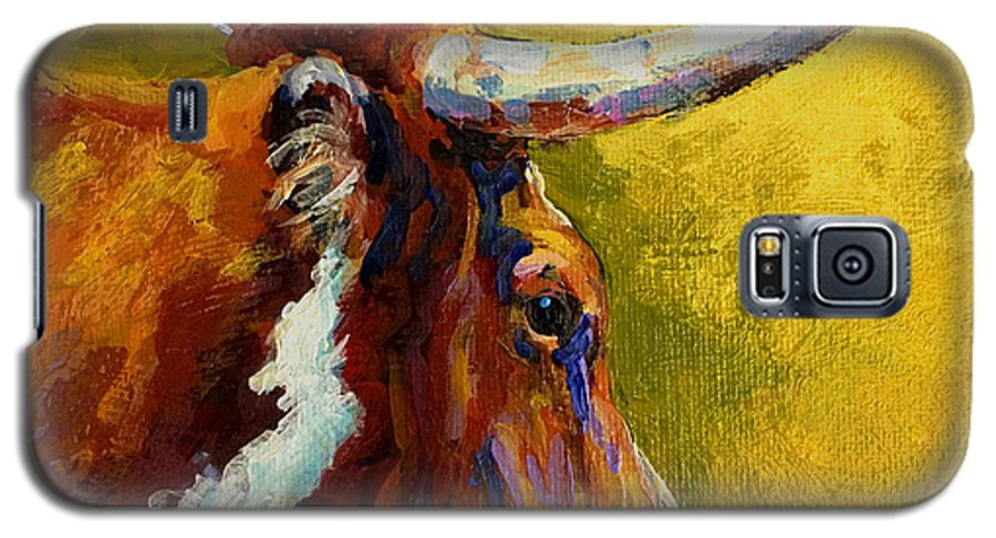 Western Galaxy S5 Case featuring the painting A Couple Of Pointers - Longhorn Steer by Marion Rose