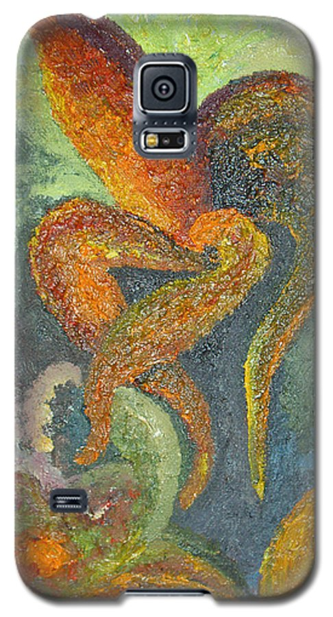 Flower Galaxy S5 Case featuring the painting A Dancing Flower by Karina Ishkhanova