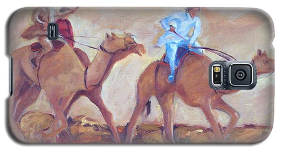 Figurative Galaxy S5 Case featuring the painting A Day At The Camel Races by Ginger Concepcion