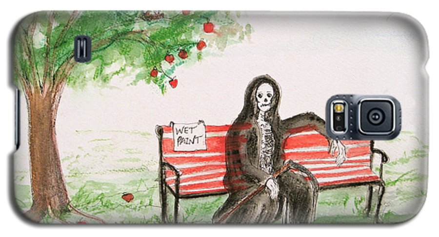 Darkestartist Day Death Holiday Humor Ink Off Paint Park Watercolor Watercolour Galaxy S5 Case featuring the painting A Day At The Park by Darkest Artist