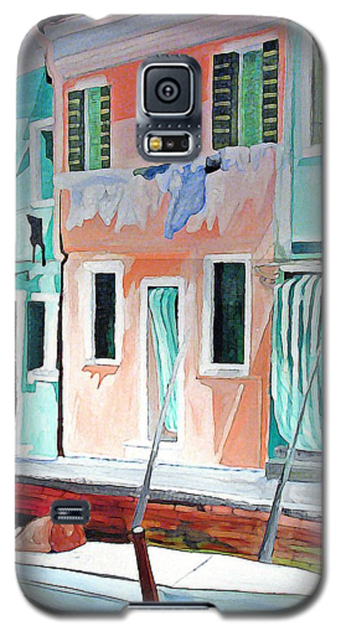 Italy Galaxy S5 Case featuring the painting A Day In Burrano by Patricia Arroyo