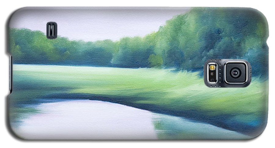 Nature; Lake; Sunset; Sunrise; Serene; Forest; Trees; Water; Ripples; Clearing; Lagoon; James Christopher Hill; Jameshillgallery.com; Foliage; Sky; Realism; Oils; Green; Tree; Blue; Pink; Pond; Lake Galaxy S5 Case featuring the painting A Day In The Life 1 by James Christopher Hill