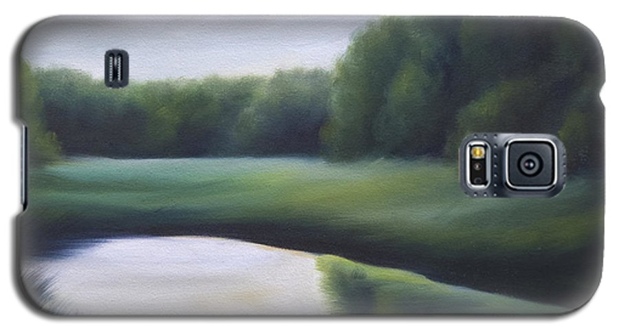 Nature; Lake; Sunset; Sunrise; Serene; Forest; Trees; Water; Ripples; Clearing; Lagoon; James Christopher Hill; Jameshillgallery.com; Foliage; Sky; Realism; Oils; Green; Tree Galaxy S5 Case featuring the painting A Day In The Life 3 by James Christopher Hill