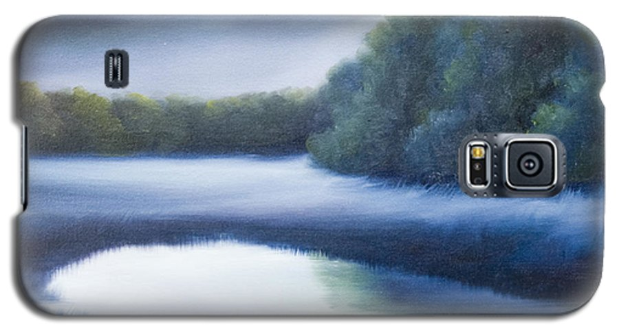 Nature; Lake; Sunset; Sunrise; Serene; Forest; Trees; Water; Ripples; Clearing; Lagoon; James Christopher Hill; Jameshillgallery.com; Foliage; Sky; Realism; Oils; Green; Tree; Blue; Pink; Pond; Lake Galaxy S5 Case featuring the painting A Day In The Life 4 by James Christopher Hill