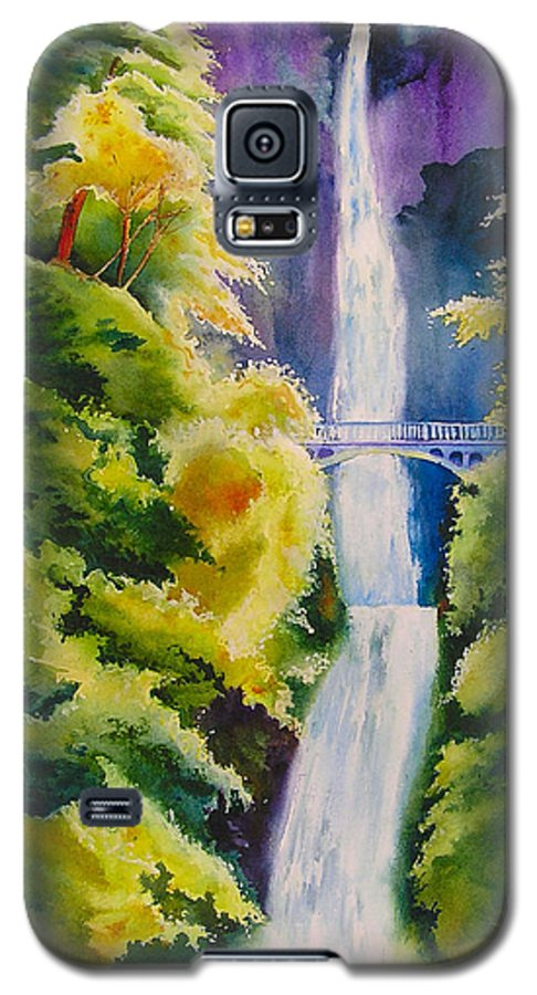 Waterfall Galaxy S5 Case featuring the painting A Favorite Place by Karen Stark