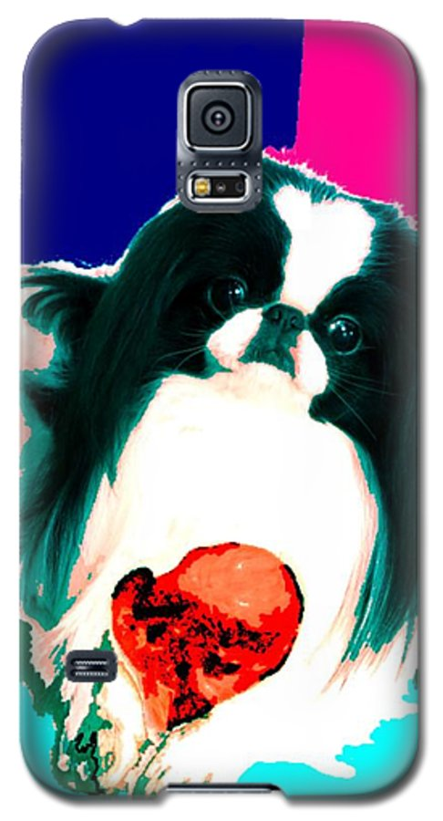 A Japanese Chin And His Toy Galaxy S5 Case featuring the digital art A Japanese Chin And His Toy by Kathleen Sepulveda