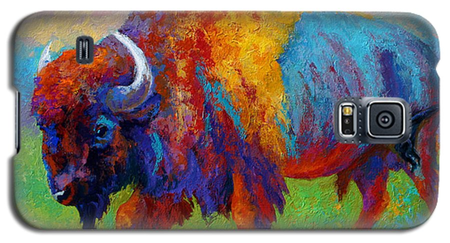 Wildlife Galaxy S5 Case featuring the painting A Journey Still Unknown - Bison by Marion Rose