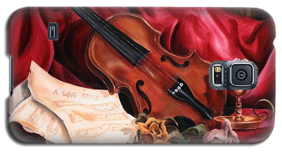 Violin Galaxy S5 Case featuring the painting A Love Story by Maryn Crawford
