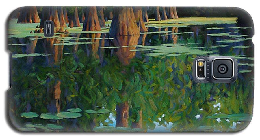 Swamp Galaxy S5 Case featuring the painting A Patch Of Blue by Kevin Lawrence Leveque