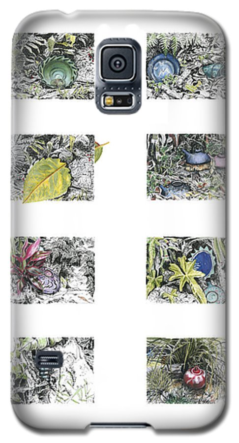 Tropical Galaxy S5 Case featuring the drawing A Potters Garden by Kerryn Madsen-Pietsch
