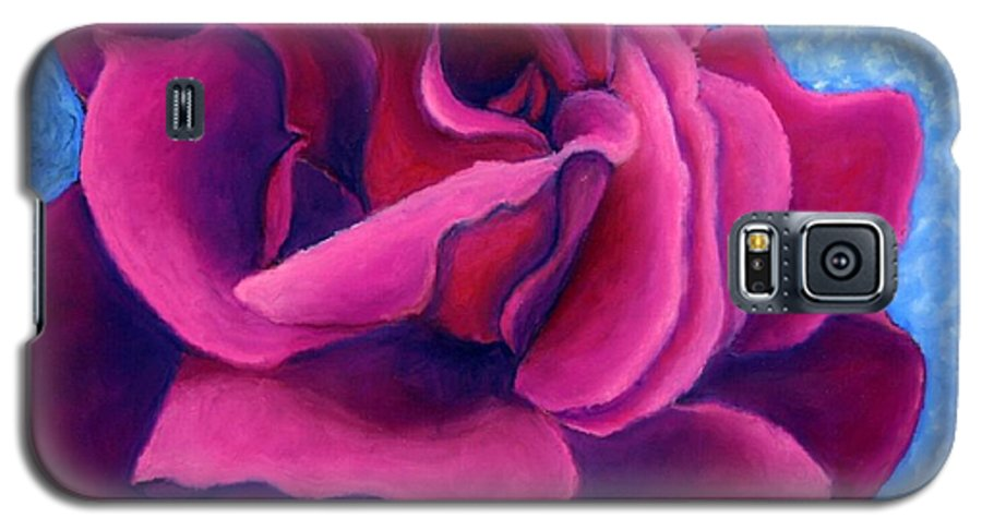 Rose. Pink Rose Galaxy S5 Case featuring the painting A Rose Is A Rose.. by Minaz Jantz