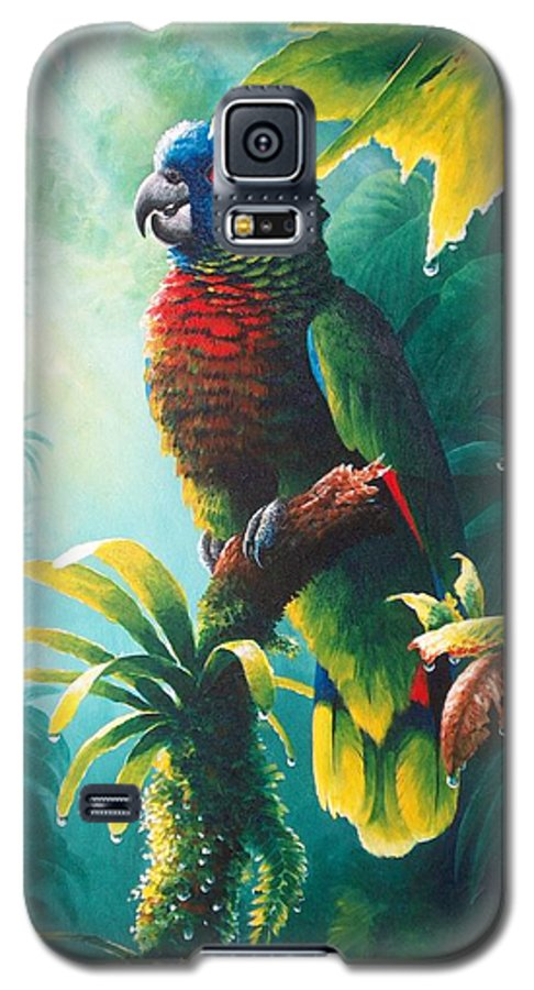 Chris Cox Galaxy S5 Case featuring the painting A Shady Spot - St. Lucia Parrot by Christopher Cox