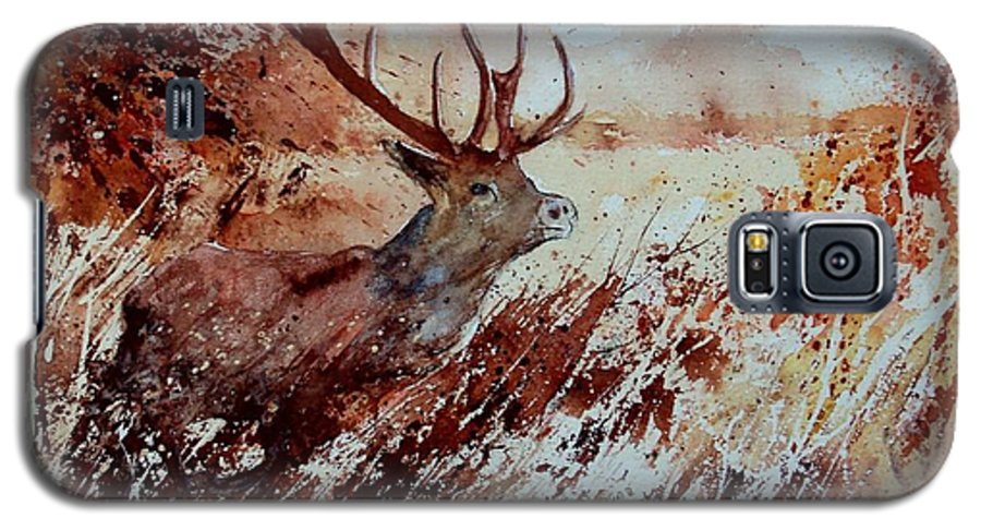 Animal Galaxy S5 Case featuring the painting A Stag by Pol Ledent