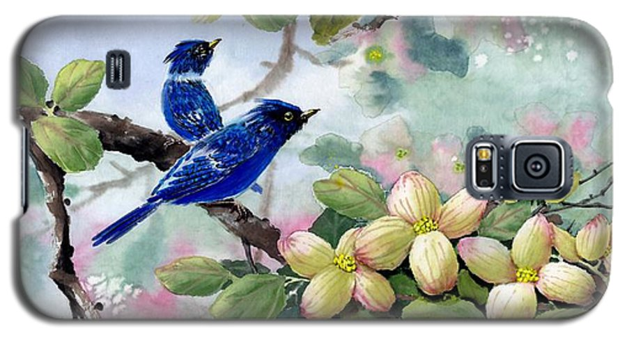 Blue Jays Galaxy S5 Case featuring the painting A Touch Of Pink On White by Eileen Fong
