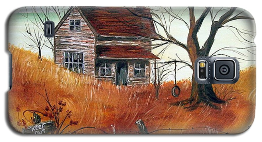 Landscape Galaxy S5 Case featuring the painting Abandoned Farmhouse by Quwatha Valentine