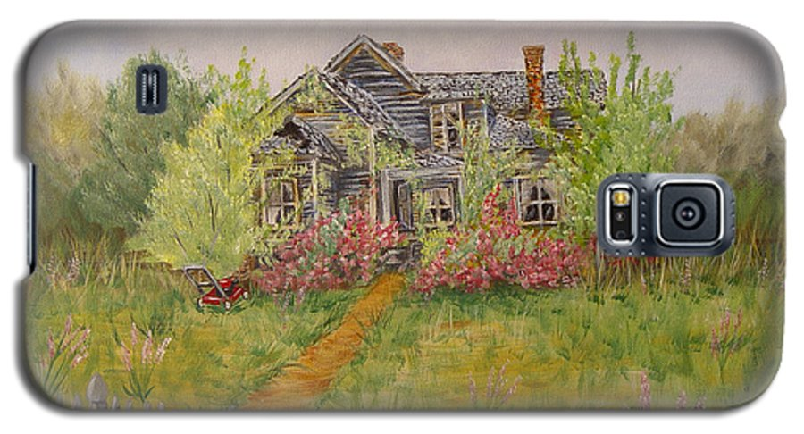 Landscape Galaxy S5 Case featuring the painting Abandoned House by Quwatha Valentine