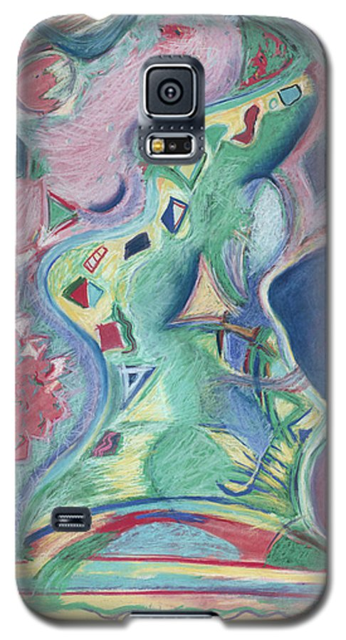 Abstract Galaxy S5 Case featuring the painting Abstract 92 - Inner Landscape by Kerryn Madsen- Pietsch