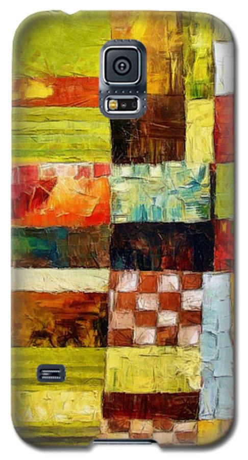 Patchwork Galaxy S5 Case featuring the painting Abstract Color Study With Checkerboard And Stripes by Michelle Calkins