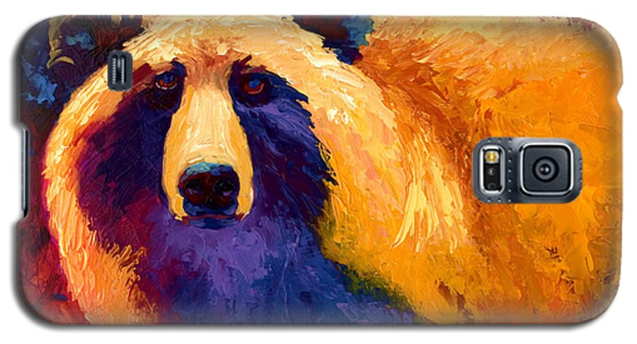 Western Galaxy S5 Case featuring the painting Abstract Grizz II by Marion Rose