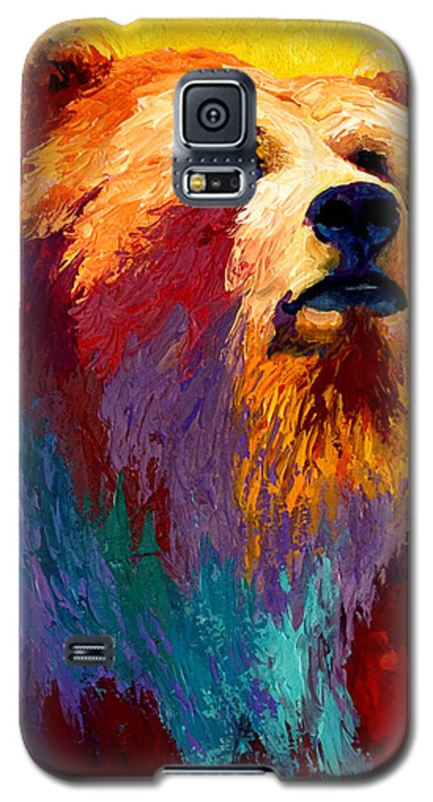 Western Galaxy S5 Case featuring the painting Abstract Grizz by Marion Rose