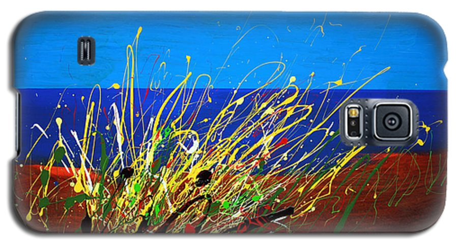 Ibiza Galaxy S5 Case featuring the painting Abstract Ibiza by Mario Zampedroni