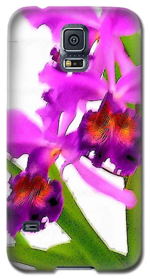 Flowers Galaxy S5 Case featuring the digital art Abstract Iris by Anita Burgermeister