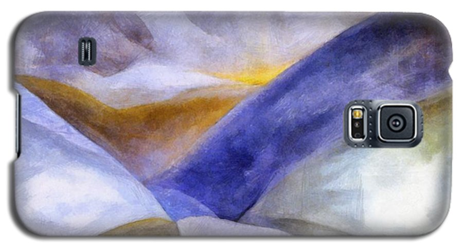 Blue Galaxy S5 Case featuring the painting Abstract Mountain Landscape by Michelle Calkins