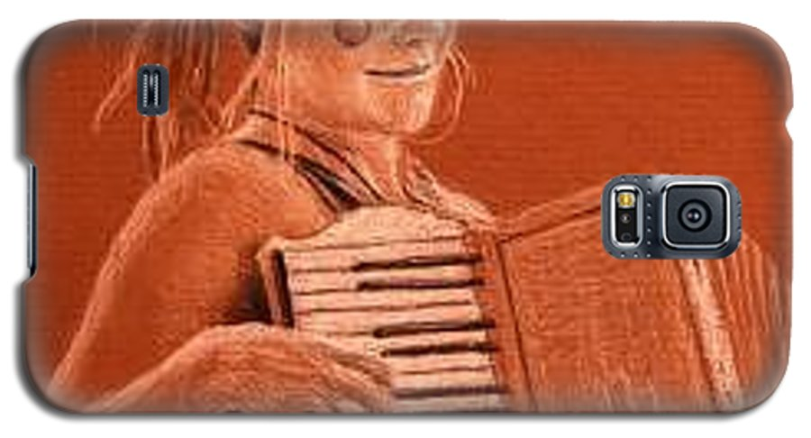 Accordion Galaxy S5 Case featuring the drawing Accordion Girl by Michael Beckett
