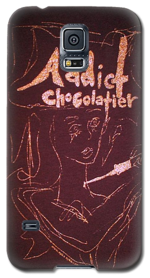 Dark Chocolate Galaxy S5 Case featuring the drawing Addict Chocolatier by Ayka Yasis