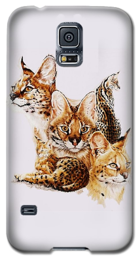 Serval Galaxy S5 Case featuring the drawing Adroit by Barbara Keith