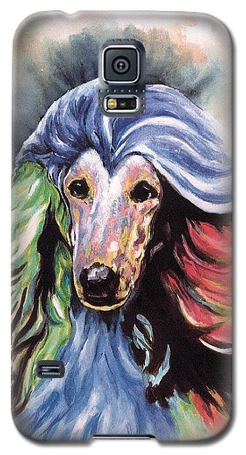 Afghan Hound Galaxy S5 Case featuring the painting Afghan Storm by Kathleen Sepulveda