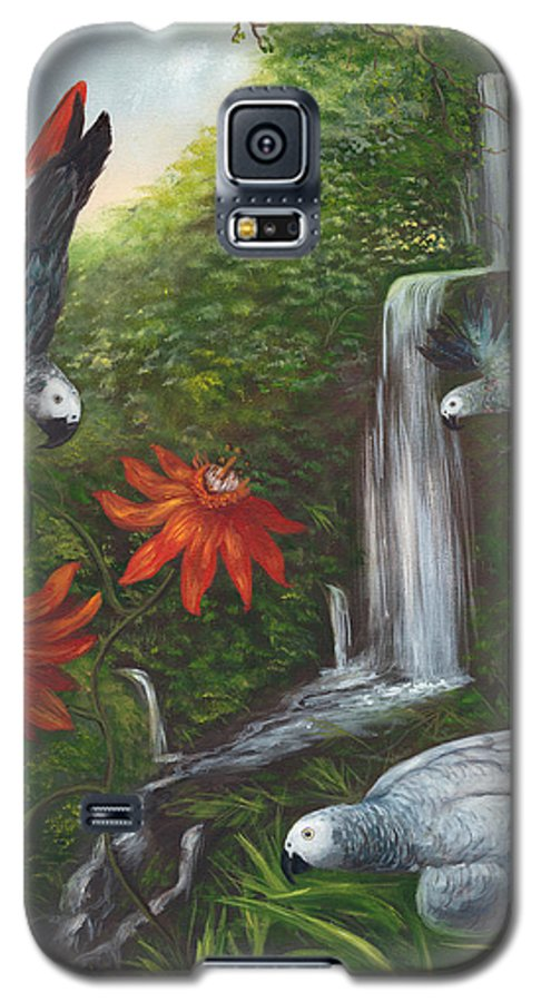 Landscape Galaxy S5 Case featuring the painting African Grays by Anne Kushnick