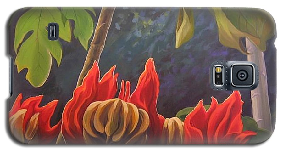 African Tulip Galaxy S5 Case featuring the painting African Tulip by Hunter Jay