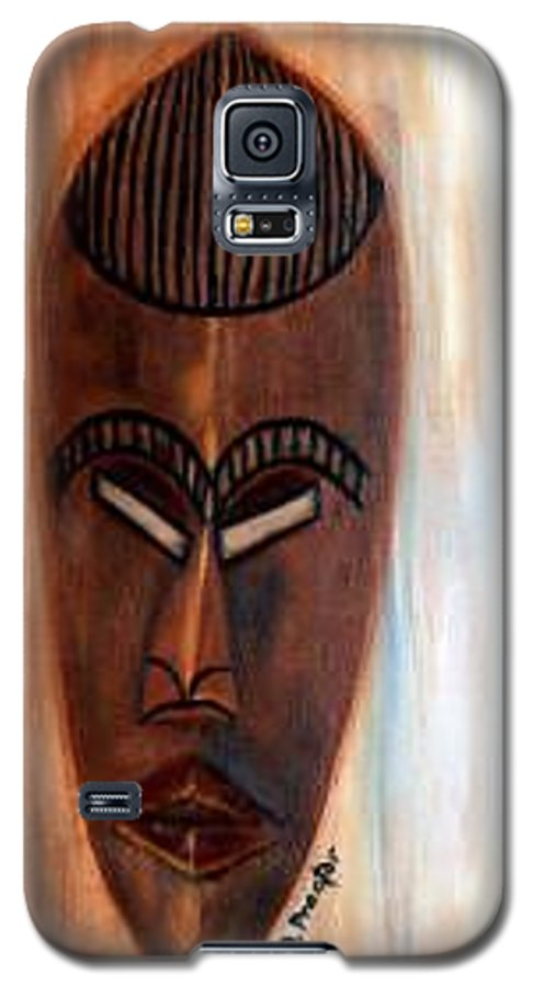 African Galaxy S5 Case featuring the painting African Warrior by Donna Proctor