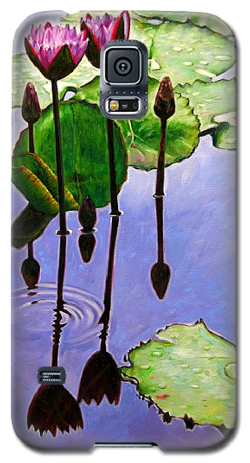 Rose Colored Water Lilies After A Morning Shower With Dark Reflections And Water Ripple. Galaxy S5 Case featuring the painting After The Shower by John Lautermilch