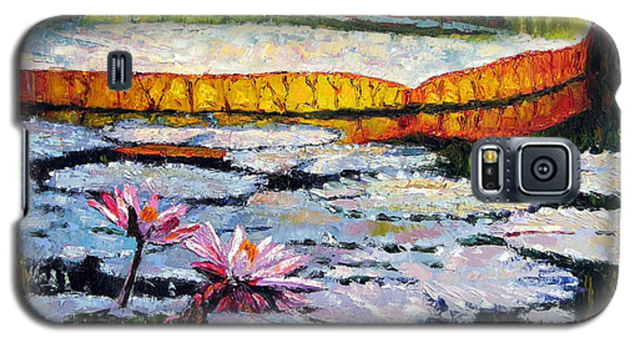 Water Lilies Galaxy S5 Case featuring the painting Afternoon Shadows by John Lautermilch