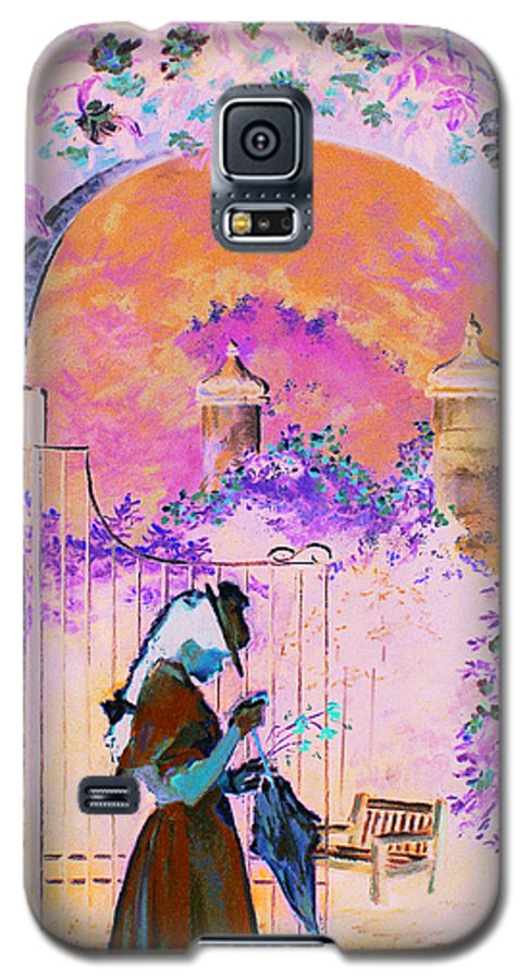 Rose Galaxy S5 Case featuring the painting Afternoon Stroll by Jean Hildebrant