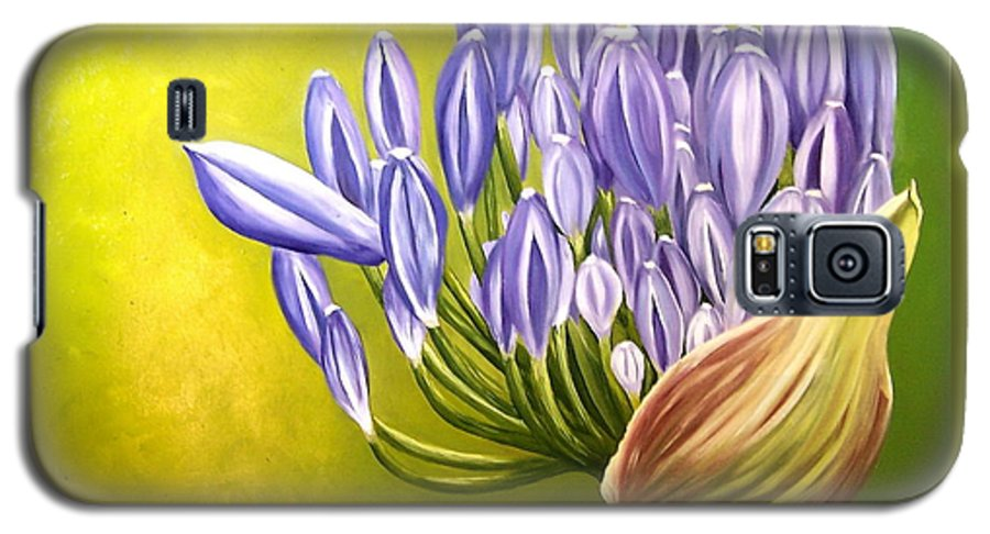 Flower Galaxy S5 Case featuring the painting Agapanthos by Natalia Tejera
