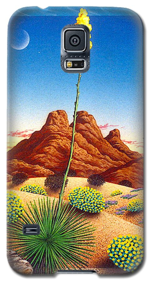 Agave Cactus Galaxy S5 Case featuring the painting Agave Bloom by Snake Jagger