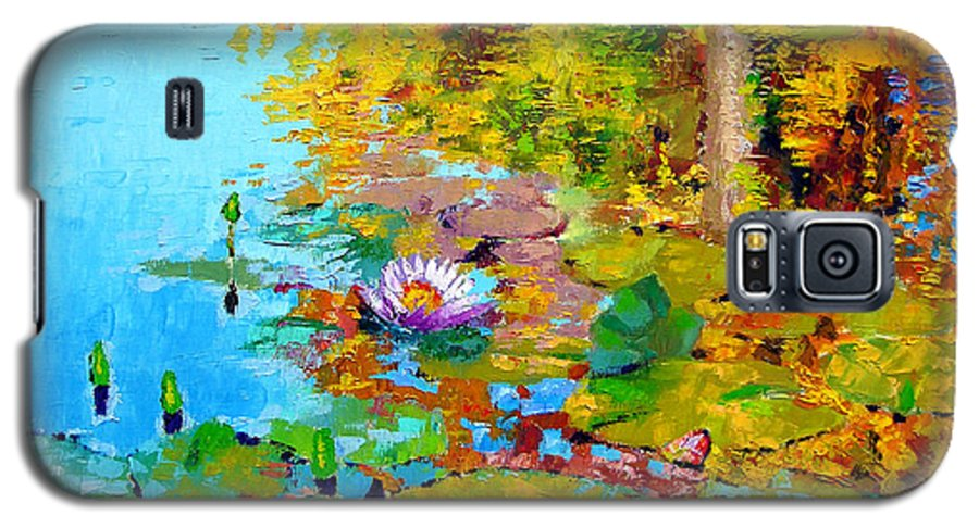 Fall Galaxy S5 Case featuring the painting Aglow With Fall by John Lautermilch