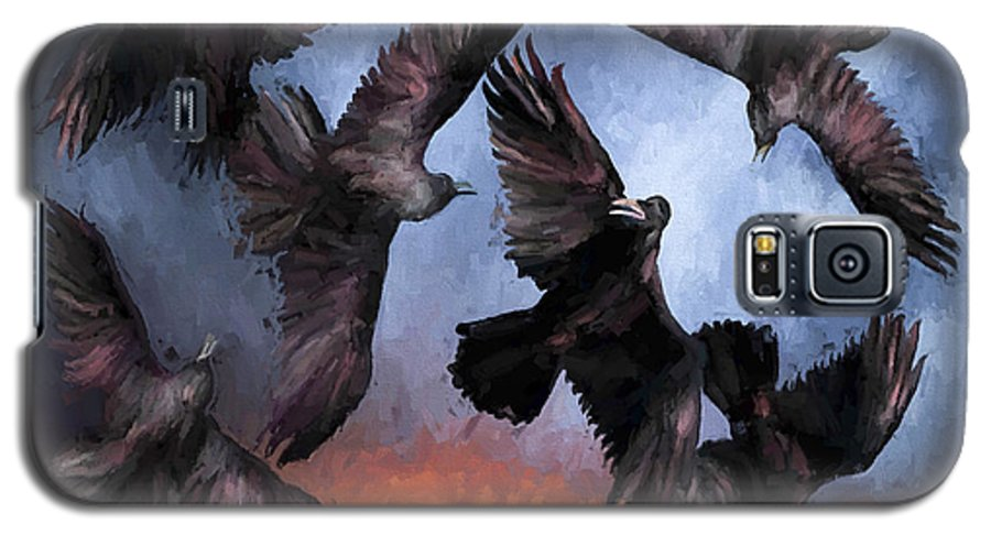 Fine Art Galaxy S5 Case featuring the painting Airborne Unkindness by David Wagner