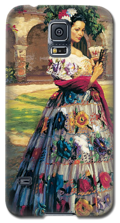 Woman Elaborately Embroidered Mexican Dress. Background Mission San Juan Capistrano. Galaxy S5 Case featuring the painting Al Aire Libre by Jean Hildebrant