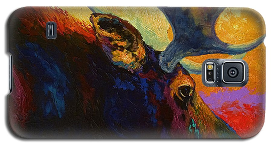 Moose Galaxy S5 Case featuring the painting Alaskan Spirit - Moose by Marion Rose