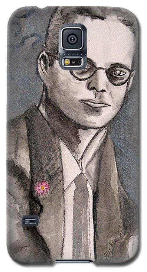 Aldous Brave Darkestartist Huxley New Painting Portrait Watercolor Watercolour World Galaxy S5 Case featuring the painting Aldous Huxley by Darkest Artist