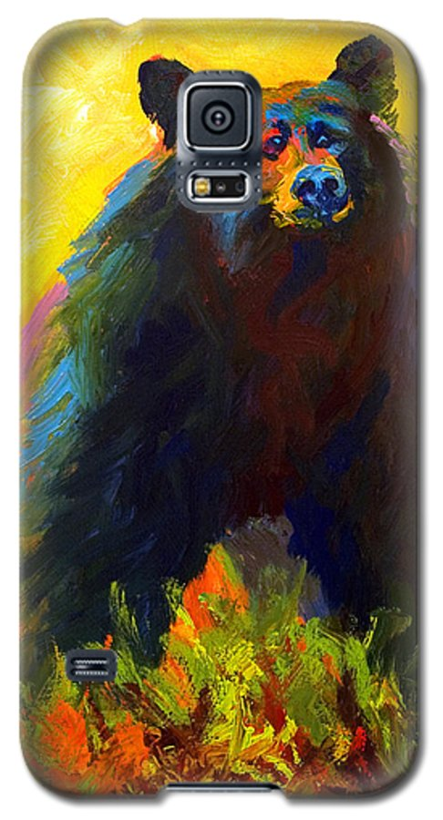 Western Galaxy S5 Case featuring the painting Alert - Black Bear by Marion Rose