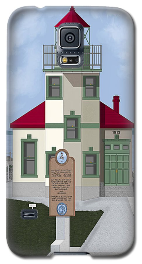 Lighthouse Galaxy S5 Case featuring the painting Alki Point On Elliott Bay by Anne Norskog