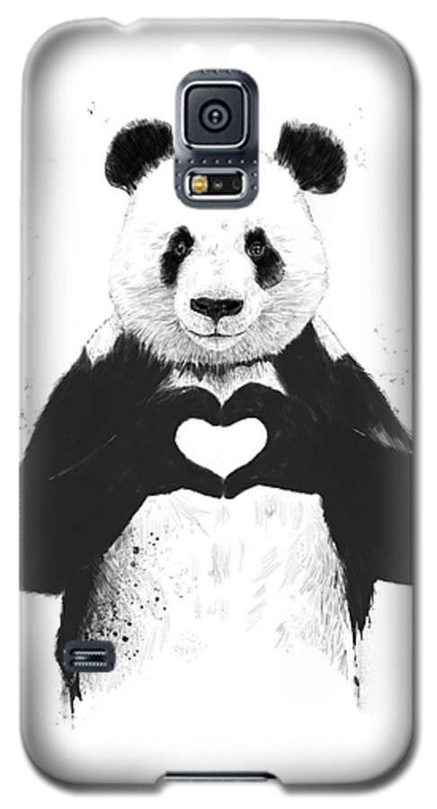 Panda Galaxy S5 Case featuring the mixed media All You Need Is Love by Balazs Solti