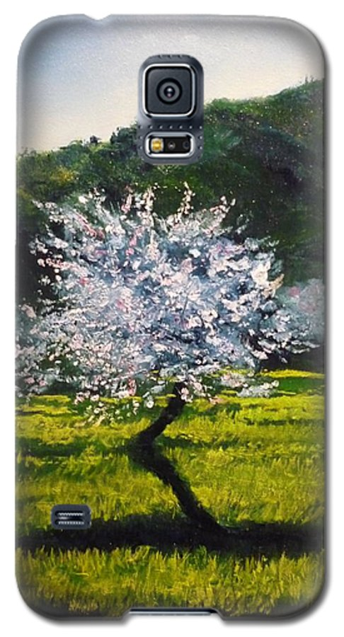 Almond Tree Galaxy S5 Case featuring the painting Almond Tree In Blossom by Lizzy Forrester