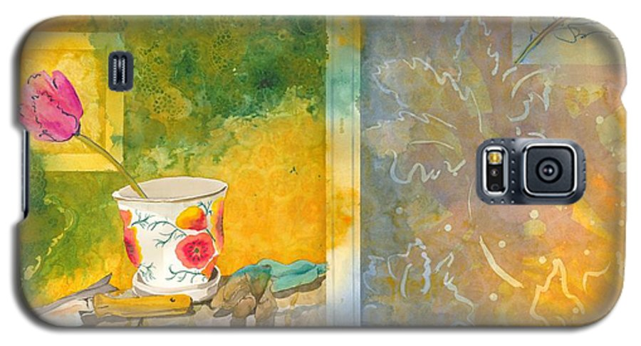 Garden Galaxy S5 Case featuring the painting Along The Garden Wall by Jean Blackmer